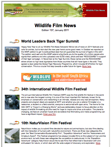Wildlife Film News
